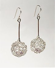 Woven Mini Drop Ball Earrings by Gillian Batcher (Silver & Stone Earrings)