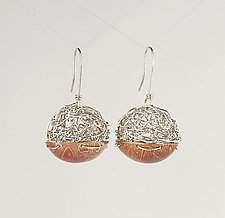 Woven and Mokume Ball Earrings by Gillian Batcher (Silver & Copper Earrings)
