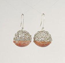 Woven and Mokume Ball Earrings by Gillian Batcher (Silver & Copper Earrings)