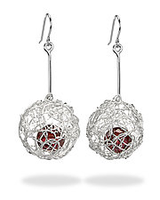 Woven Drop Ball Earrings by Gillian Batcher (Silver & Stone Earrings)