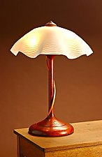 Table Lamp With Ridged Shade by Clark Renfort (Wood & Glass Table Lamp)