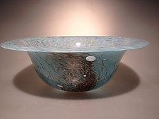 Blue and Red Cloud Window Bowl by Ian Whitt (Art Glass Bowl)