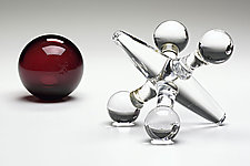 Crystal & Ruby Jack Set by Michael Trimpol and Monique LaJeunesse (Art Glass Sculpture)