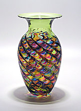 Optic Ribbed Vortex Vase: Lime by Michael Trimpol and Monique LaJeunesse (Art Glass Vase)