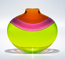 Flat Banded Vase: Lime by Michael Trimpol and Monique LaJeunesse (Art Glass Vase)