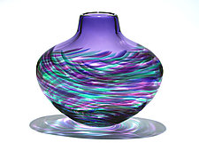 Flattened Vortex Vase: Purple by Michael Trimpol and Monique LaJeunesse (Art Glass Vase)