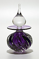 Twisted Square Rib Perfume Bottle: Grape by Michael Trimpol and Monique LaJeunesse (Art Glass Perfume Bottle)