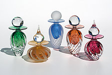 Twisted Square Rib Perfume Bottles by Michael Trimpol and Monique LaJeunesse (Art Glass Perfume Bottle)