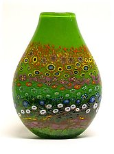 Apple Green Garden Vase by Ken Hanson and Ingrid Hanson (Art Glass Vase)