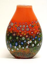 Peach Garden Vase by Ken Hanson and Ingrid Hanson (Art Glass Vase)