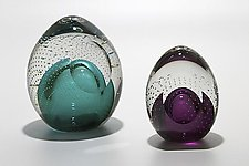 Bubble Paperweights with Facet by Michael Trimpol and Monique LaJeunesse (Art Glass Paperweight)