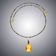Gold Quartz and Pyrite Necklace by Judy Bliss (Gold & Stone Necklace)