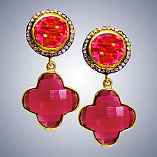 Red Quartz and Diamond Post Earrings by Judy Bliss (Gold & Stone Earrings)