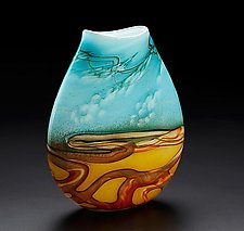 Small Landscape Pouch Vase by John & Heather  Fields (Art Glass Vase)