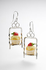 Cupcake Earrings on Server by Carolyn Tillie (Silver & Polymer Clay Earrings)