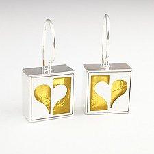 Half Heart Earrings by Victoria Varga (Silver & Gold Earrings)