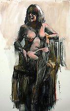 Sitting Nude Figure by Cathy Locke (Oil Painting)