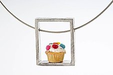Cupcake Pendant Speckled by Carolyn Tillie (Silver & Polymer Clay Necklace)