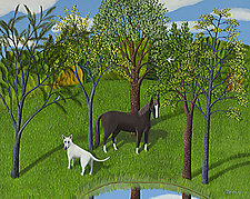 Landscape of Dog and Horse by Jane Troup (Giclee Print)