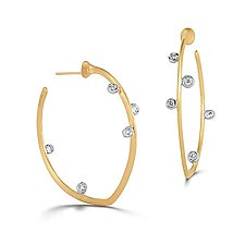 Scribble Saturn Hoops by Dana Melnick (Gold & Stone Earrings)