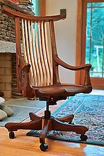 Tucked Arm Swivel Desk Chair by Richard Laufer (Wood Chair)