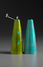 Bamboo Blue and Green Salt and Pepper Set by Robert Wilhelm (Wood Pepper Mill & Salt Shaker)