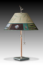 Copper Table Lamp with Large Conical Shade in Twin Fish by Janna Ugone (Mixed-Media Table Lamp)