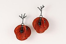 Red Poppy Earrings by Carol Windsor (Paper, Silver, & Stone Earrings)