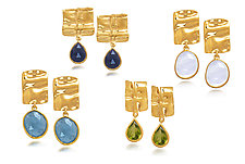 Linen Vermeil Grid Earrings by Diana Widman (Gold & Stone Earrings)