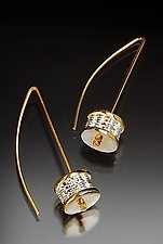 18k and Fine Silver Woven Bead Earrings by Linda Bernasconi (Gold & Silver Earrings)