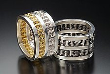 Double Woven Rings by Linda Bernasconi (Gold & Silver Ring)