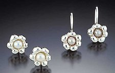 Miniature Flowers (Silver) by Kathleen Lynagh (Silver & Pearl Earrings)