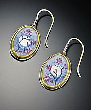Plum Blossom Earrings by Ananda Khalsa (Gold and Silver Earrings)