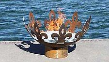 Fiery Fleur-de-Lis Sculptural Firebowl by John T. Unger (Metal Fire Pit)
