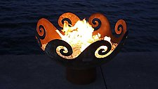 Waves O' Fire Sculptural FireBowl by John T. Unger (Metal Fire Pit)