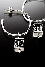 Square Bead Hoop Earrings by Linda Bernasconi (Silver Earrings)
