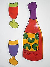 Wall Wine Set by Diana Crain (Ceramic Wall Sculpture)