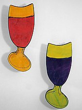 Wine Glass Duet by Diana Crain (Ceramic Wall Sculpture)