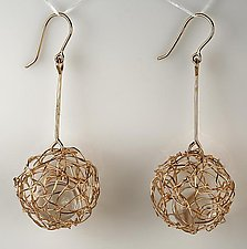 Woven Drop Ball Earrings in 18K gold by Gillian Batcher (Gold & Stone Earrings)