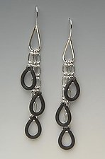 Rubber Rain by Lonna Keller (Silver & Neoprene Earrings)