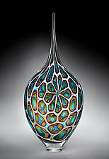 Aqua, Gold & Amethyst Resistenza by David Patchen (Art Glass Vessel)