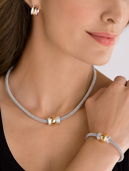 Silver and Gold Orbit Bead Jewelry Collection