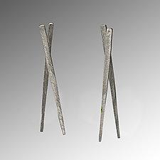 Small Chopstick Earrings Unadorned by Carolyn Tillie (Silver Earrings)