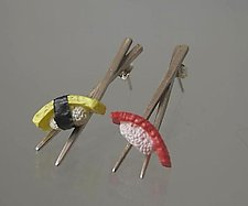 Small Chopstick Earrings with Tako and Ika by Carolyn Tillie (Silver or Gold Earrings)
