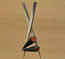 Chopstick Brooch with Sushi Handrolls by Carolyn Tillie (Silver Brooch)