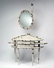 Birch Bark Bluff: Console & Mirror by Mike Dillon (Wood & Resin Mirror & Table)