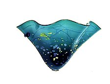 Oriental Teal Fluted Sconce by Joel and Candace  Bless (Art Glass Sconce)