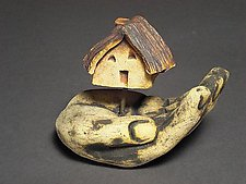 House in Hand by Cathy Broski (Ceramic Sculpture)