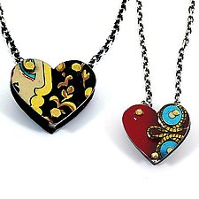 Reversible 3D Tin Heart Necklace by Beth Taylor (Metal Necklace)