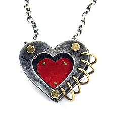 Love in 3-D Heart Pendant by Beth Taylor (Silver & Tin Necklace)